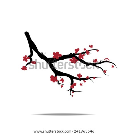 Vector branch of the japan blossoming cherry Sakura. Perfect for the wedding cards, invitations cards, deco, wallpaper, packages - stock vector