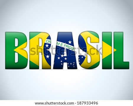 Vector - Brasil 2014 Letters with Brazilian Flag - stock vector