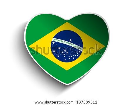Vector - Brazil Flag Heart Paper Sticker - stock vector