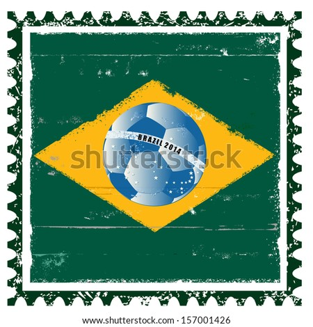 Vector Brazil flag like stamp in grunge style - stock vector