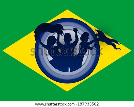 Vector - Brazil Flag with Soccer Ball Background - stock vector