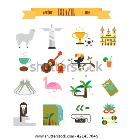 Vector Brazil icons set.