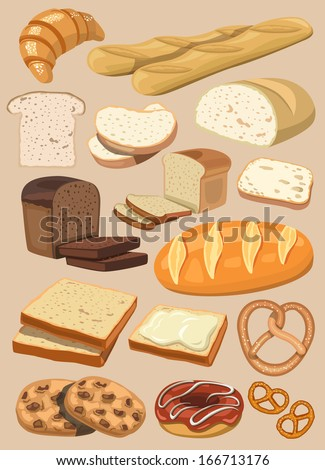 vector bread set - stock vector
