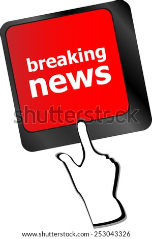 vector breaking news button on computer keyboard pc key - stock vector