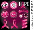 Vector Breast Cancer Awareness Ribbons and Badges. EPS 10.  - stock photo
