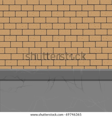 Vector brick wall to the foundation. - stock vector