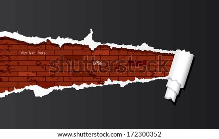 Vector brick wall under ripped paper background. - stock vector