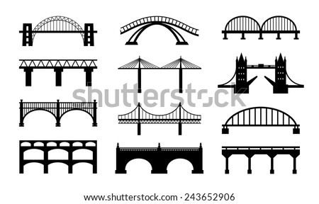 Vector bridges silhouettes icons. Black silhouettes of beautiful bridges on a white background for logos, badges or internet icons. - stock vector