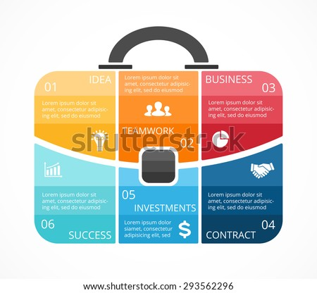 Vector briefcase infographic. Template for bag diagram, graph, presentation, round chart. Business professional portfolio with 6 options, parts, steps or processes. Travel and tourism concept. - stock vector
