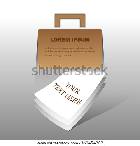 Vector briefcase with sheets of paper for text