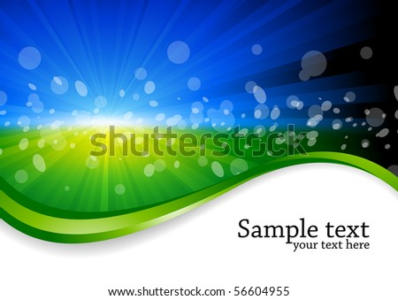Vector bright background in green and blue color - stock vector