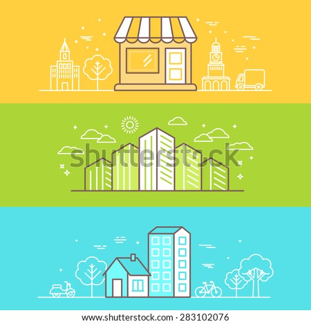 Vector bright banners and illustrations with linear buildings icons - landscapes and scenes for website headers  - stock vector