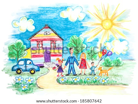 Vector Bright Childrens Sketch With Happy Family, House, Dog, Car on the Lawn with Flowers - stock vector