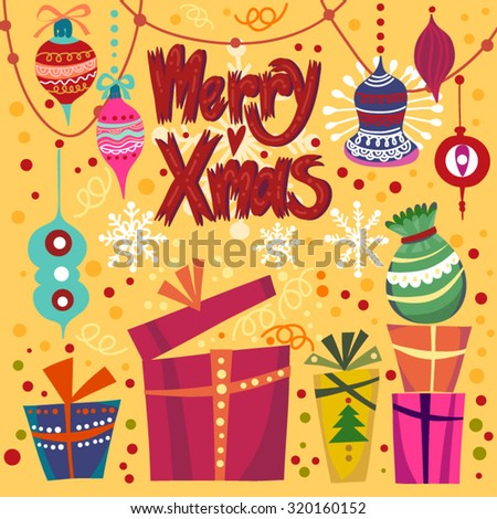 Vector bright Christmas illustration of gift boxes, toys and snowflakes. - stock vector
