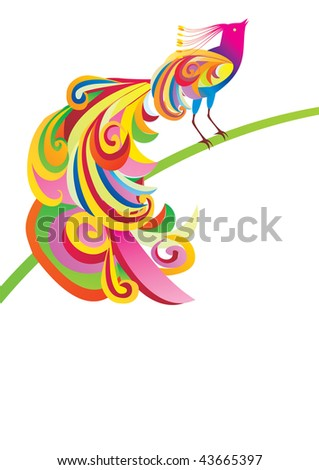 vector bright color picture of colorful decoration peacock bird on green branch white background - stock vector