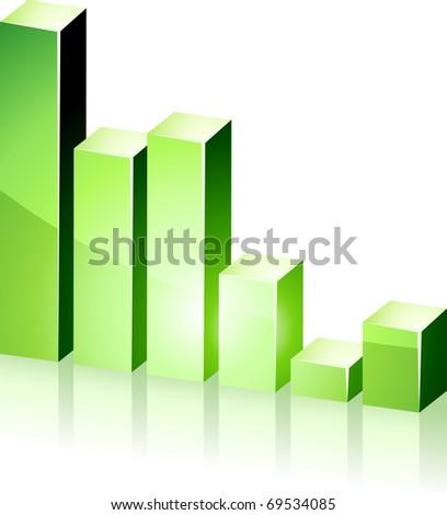 Vector bright 3d green  graph. - stock vector