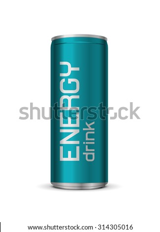Vector bright energy drink can, isolated on white background