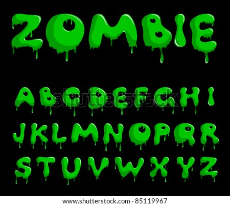Vector bright green alphabet on a black background - stock vector