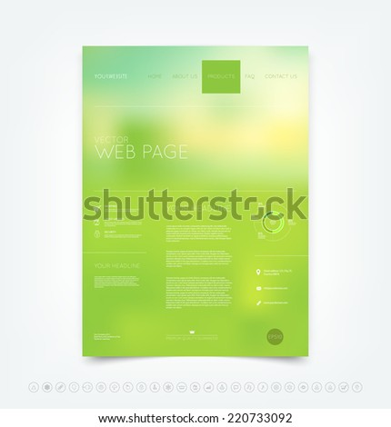 Vector bright green blurry bokeh website design template with set of icons - stock vector