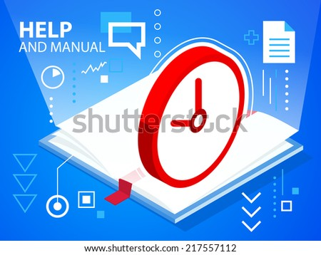 Vector bright illustration help book and clock on blue background for banner, web, site, design, advertising, print, poster. Eps 10. - stock vector