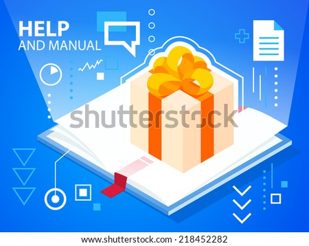 Vector bright illustration help book and gift box with bow on blue background for banner, web, site, design, advertising, print, poster. Eps 10. - stock vector