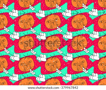 Vector bright pattern about breading with cats