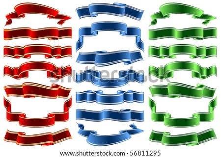 vector bright ribbons in three colors over white background