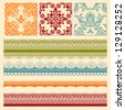 Vector bright seamless paterns and seamless lacy ribbons, fully editable eps 8 file, seamless patterns in swatch menu - stock vector