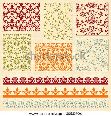 Vector bright seamless paterns and seamless lacy ribbons, seamless patterns in swatch menu, seamless pattern brushes included,  shadows with transparency effects on separate layer - stock vector