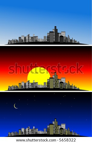 Vector - Brightly lit modern city at various times of the day. - stock vector