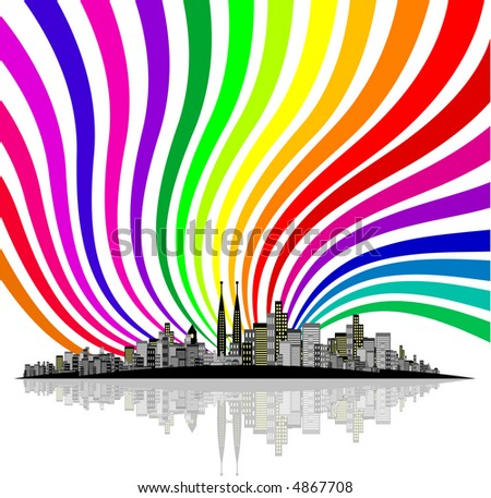 Vector - Brightly lit modern city with reflections. - stock vector
