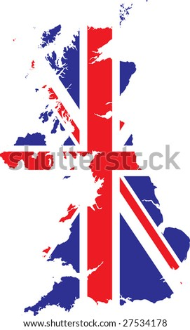 Vector British Flag And Map - stock vector