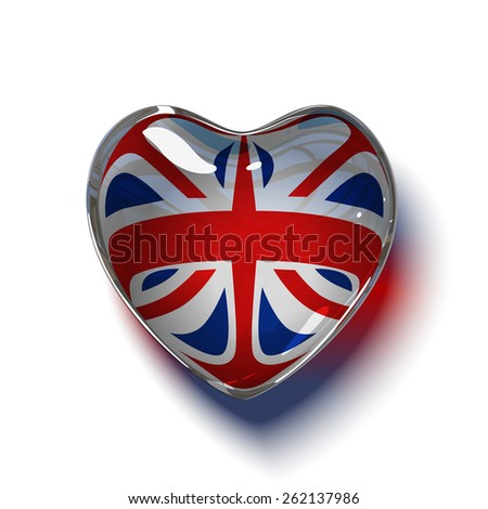 Vector. British heart. Glass heart with flag of the United Kingdom (Union Jack )inside. isolated on white background. - stock vector