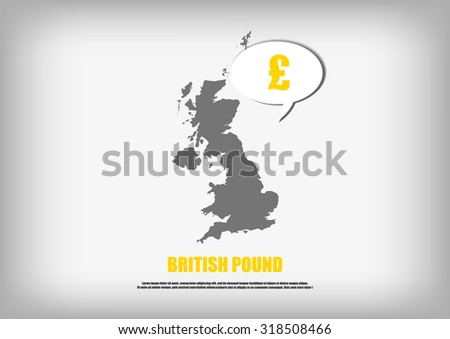 Vector : British map and British Pound in bubble quote - stock vector