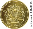 Vector British money gold coin one pound with the image of a heraldic lion, unicorn, shield and crown - stock photo