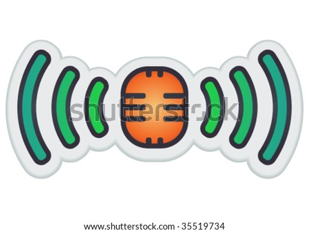 Vector broadcasting symbol as a sticker. - stock vector