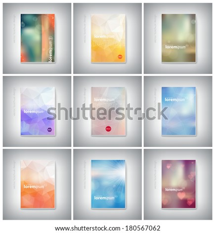 Vector brochure cover design collection. Modern polygonal, geometric, blurred bokeh, romantic, retro photographic style design.  - stock vector