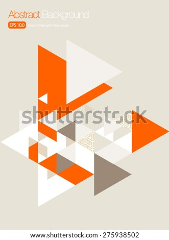 Vector Brochure Cover/ Poster Design Templates - Orange Triangles - stock vector