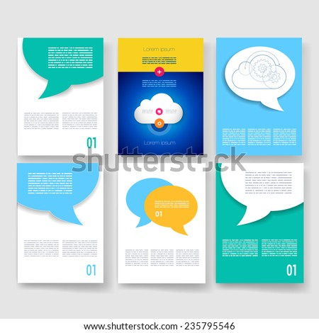 Templates design set web mail brochures stock vector for Brochure mailer template