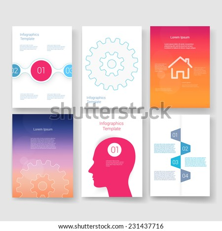 Vector brochure design templates collection. Applications and Infographic Concept. Set of Flyer, Brochure Design Templates.  - stock vector