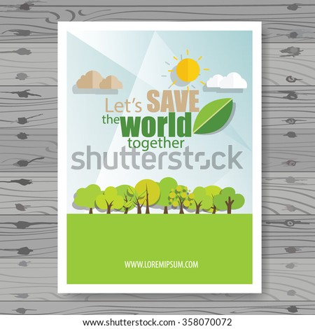Vector Brochure Flyer design Layout template. Ecology background with elements for magazine, cover, poster design. - stock vector