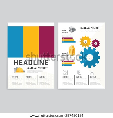 Vector brochure, flyer, magazine cover booklet poster design template.layout building business annual report set of corporate identity mock-up print media A4 size. - stock vector