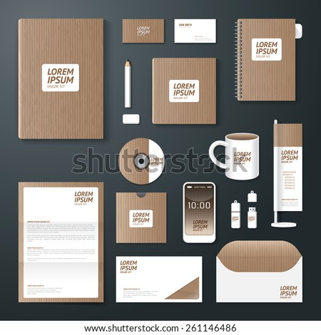 Vector brochure, flyer, magazine cover booklet poster design template/ layout business stationery annual report A4 size/ old paper set of corporate identity template. - stock vector