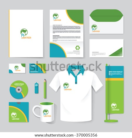 Vector brochure, flyer, magazine, folder, t-shirt,cover booklet poster mockup design template/ layout nature care stationery annual report A4 size/ set of corporate identity template. - stock vector