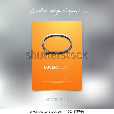 Vector brochure or booklet cover design template. Business concept. Flyer idea. Poster with 3d speech bubble - stock vector
