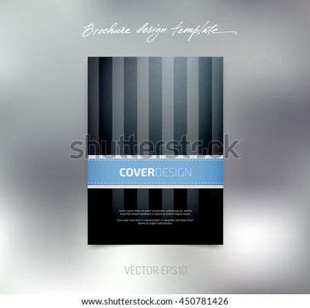 Vector brochure or booklet cover design template. Business concept. Flyer idea. Stitched detail. Vertical stripes - stock vector