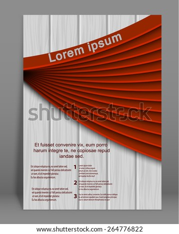 Vector  brochure or magazine cover  template with wood texture. EPS - stock vector