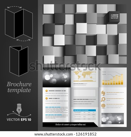Vector brochure template design with black and white cubes. EPS 10 - stock vector