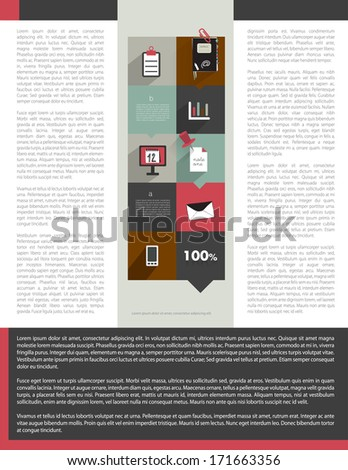 Vector brochure template design with sample text fields. - stock vector