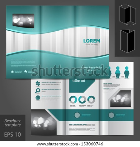 Vector brochure template design with waves and stripes. EPS 10 - stock vector